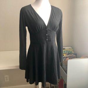AUDREY 3+1 Black Faux Suede Deep V LS Dress Sz M